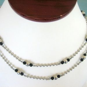 Women's Stainless Steel & Black Onyx Necklace